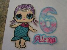 Iron on embroidered applique/patch- LOL Mermaid doll and birthday number+name