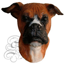 Latex Full Head Realistic House Pet Boxer Dog Fancy Dress Up Party Carnival Mask