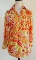 HAWES & CURTIS Yellow/Orange/Red Paisley Print Semi Fitted Shirt Size 10
