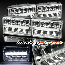 4PC 4X6 H4651/4652/4656/4666 50W LED CHROME SEALED BEAM HEADLIGHTS REPLACEMENT