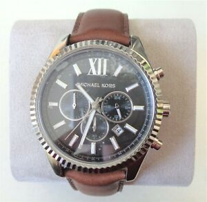 MICHAEL KORS, MK8456, Lexington Brown Chronograph Watch for Men. NIB. RV $250.