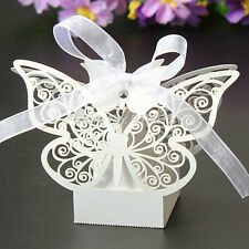50pcs Butterfly Wedding Bomboniere Party Favors Cake Candy Gift Boxes w/ Ribbon
