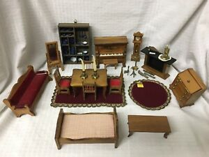 Vtg 29pc Wood Doll Furniture Table Chair Red Piano Music Box Rug Clock Fireplace