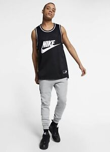 NIKE Sportswear Embroidered Mesh Jersey Tank Top Black Size M *NEW* CT5605-010