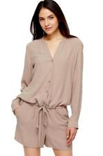 Eileen Fisher Silk Mandarin Collar Romper Mocha NWT $328