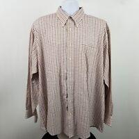 Jos A Bank Est 1905 Mens Brown Beige Check L/S Dress Button Shirt Sz XL