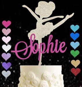 Personalised ballet dancer ballerina birthday cake topper pink age name glitter