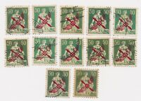 SWITZERLAND stamp 12 x 50 C 1919 airmail Michel cat. value $2150 VERY RARE !!!