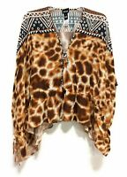 Just Cavalli Womens Leopard Print Geometric Blouse Top 3/4 Sleeve Size Medium