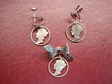 VINTAGE U.S. MERCURY DIME SCREW-BACK EARRINGS + BOW PIN - NICELY DONE