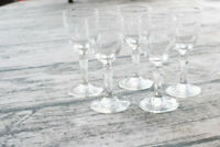 Vintage Clear Glass Aperitif Glass Set of 5
