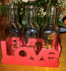 3 Small clear glass vases matching red wood Love tray with heard shape sides
