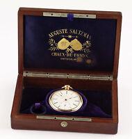 Auguste Saltzman 18k Gold Präzisions Taschenuhr 1860 Original Box Pocket watch