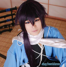 Hakuouki Portable Saito Hajime purple black Cosplay Costume full Wig+ wig cap