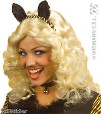 MOUSTACHES de CHAT Noire Déguisement Homme Femme Enfant Costume Animal NEUF