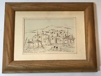 Larry Hilburn Taos Pueblo Ink Drawing Print 1970 Signed       LS0497