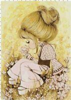 Vintage 1960's Girl w/ Ponytail Pink Flower Field DIGITAL Cross-Stitch Pattern
