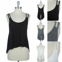 Double Lace Trimmed Strap Tank Top with Back Slit Round Neck High Low Hem  S M L