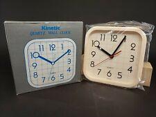 Vintage Quartz Wall Clock White 1980s Retro Kitchen NOS Hong Kong Rare Kinetic
