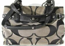 COACH C Authentic Black Gray Leather Handle Shoulder Large Tote Handbag - 13298