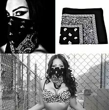 1 x motif cachemire bandana noir foulard de tête tissu Nicki écharpe Motard