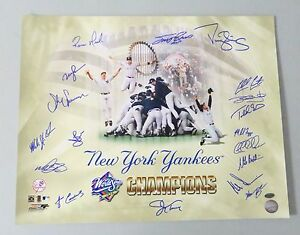 010508 1998 WSC New York Yankees Team Signed 16x20 Photo 18 AUTO 's LEAF COA