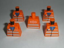 TORSO Lego X5 Orange Safety Vest with Reflective Pattern NEW (NO ARMS OR HANDS)