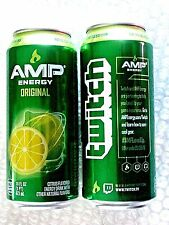 2016 FULL DEW 16 oz AMP ENERGY DRINK ORIGINAL TWITCH PROMO  LIMITED EDITION CAN