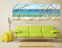 Original art painting print signed Andy Baker Beach surf waves Australia blue