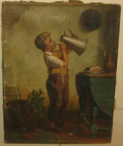 ANTIQUE *Child in Kitchen* Genre OIL Painting Attributed to ROBINSON ELLIOTT
