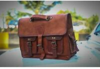 New Men Soft Goat Leather Vintage Brown Messenger Shoulder Laptop Bag Briefcase