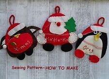Santa ,  Robin and Penguin Christmas FELT crafts - Sewing pattern