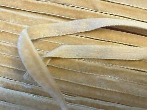 "Vintage 1/4"" Silk Velvet Rayon Ribbon 1yd Made in France Ivory & Almond"