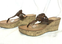 Guess - Size 8 Brown Leather Cork Wedge Heel Sandals