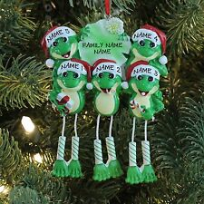 Frog Dangle Legs Family of 5 Personalized Christmas Ornament Holiday Gift 2017