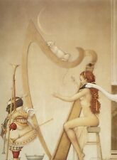 Michael Parkes MOON HARP woman harpist w cat cherub fantasy surreal art print