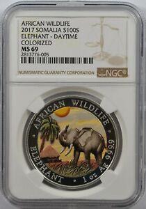 2017 Somalia African Wildlife Elephant 100 shillings Daytime Colorized MS 69