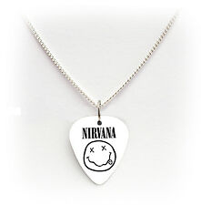 NIRVANA guitar pick plectrum white pick  SILVER TONE CURB CHAIN NECKLACE 24""