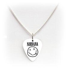 """Nirvana De Guitarra Pick Púa Blanco Pick Tono Plata Cadenilla Collar 24 """""""