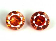 Natural Orange Sapphire Loose Gemstone Pair 8 Ct/2 Pcs AGSL Certified Round Cut