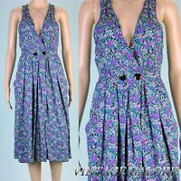 VINTAGE Green Purple Floral Swing Rockabilly Rayon Summer garden day dress Sz S