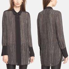 $325 Vince, Black White, Striped, Silk, Long Sleeve Blouse- Size S-Career/Formal