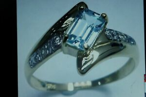 SYJEWELLERY 9CT YELLOW GOLD OCTAGON NATURAL BLUE TOPAZ & DIAMOND RING O IN BOX