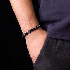 8mm Nature Stone Black Lava Stone Bead Cross Men Women Bracelets Bangles Jewelry