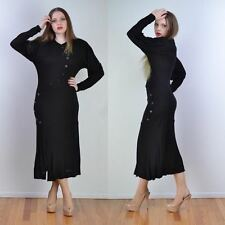 VTG 70s JEAN MUIR Asymmetrical Button Ink Black RAYON JERSEY Knit Maxi Dress S
