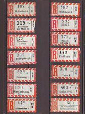 BG54 Briefmarken BUND 14 Einschreibezettel mit unterschiedlichen Gebietszahlen