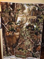 Realtree Buck Deer with Turkeys Fleece Fabric Panel -- New