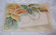 1908 ANTIQUE BEST WISHES GREETINGS POSTCARD WITH YELLOW ROSES  T*