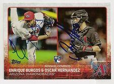 Enrique Burgos Oscar Hernandez Arizona Diamondbacks 2015 Topps Signed Card