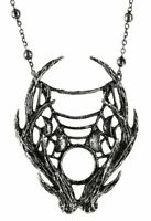 Restyle Gothic 3D Moon Phases Deer Antlers Punk Occult Witchy Pendant Necklace